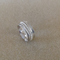 Sterling and Fine silver three band spinner worry fidget ring