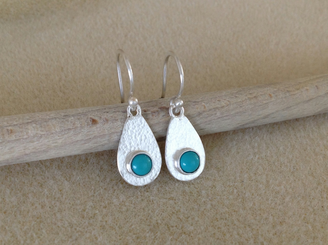 Turquoise sterling and fine silver drop earrings.