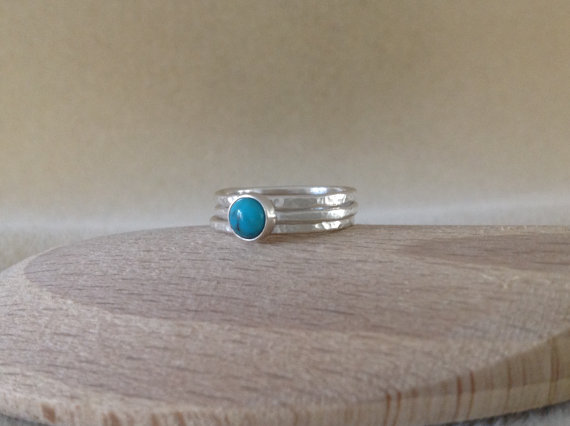 Turquoise all Fine silver dainty triple stacking ring set