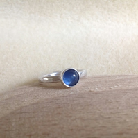 Blue Kyanite Sterling and Fine silver ring