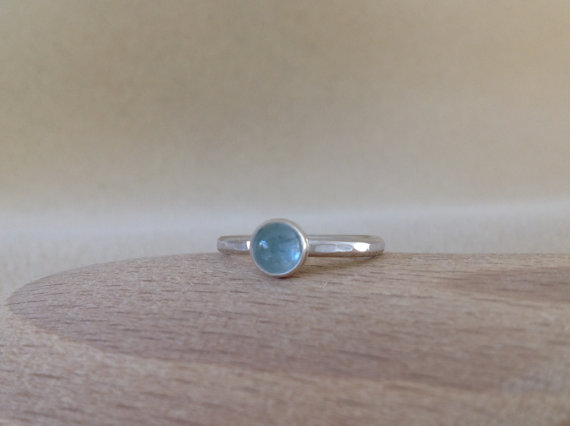 Aquamarine Sterling and Fine silver dainty gemstone ring
