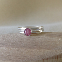 Pink Rhodochrosite and Fine silver stacking ring set