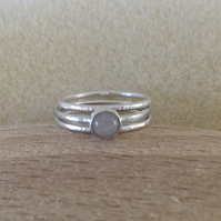 Rose Quartz fine and sterling silver dainty stacking ring set