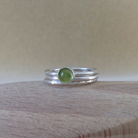 Peridot fine and sterling silver stacking ring set