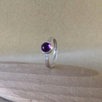 Purple Amethyst Sterling and Fine silver ring