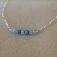 Aquamarine sterling silver bar necklace