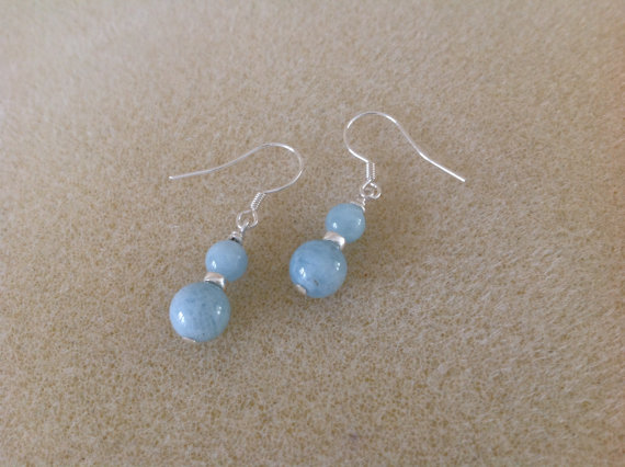 Aquamarine and sterling silver dainty drop earrings
