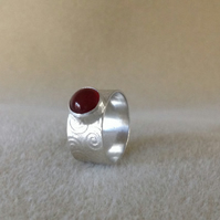 Red Carnelian wide band embossed Sterling and Fine silver ring