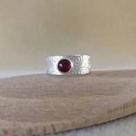 Garnet Sterling and Fine silver Unisex wide band embossed ring