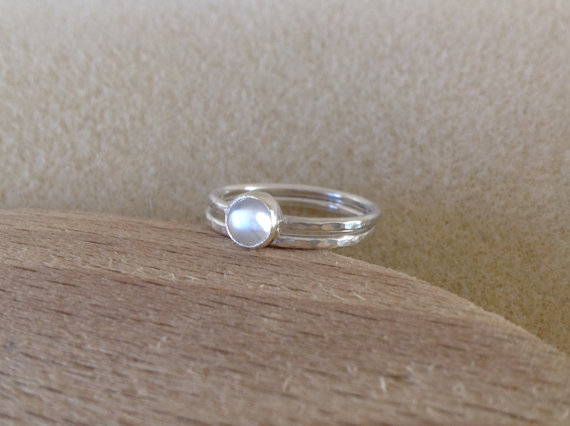 Blue Moonstone Sterling and Fine silver twin band ring set