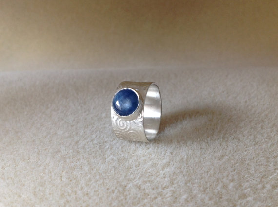 Kyanite Sterling and Fine silver embossed wide band ring size (M) one only