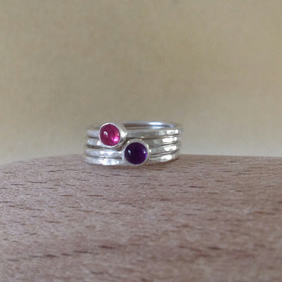 Pink Tourmaline and Purple Amethyst Sterling and Fine silver stacking ring set