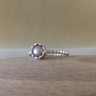 Freshwater pearl Sterling and Fine silver petal surround ring