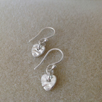 All Fine silver textured heart dainty drop earrings
