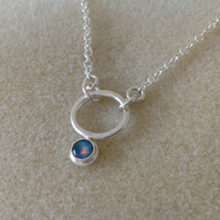 Opal triplet Sterling and Fine silver hammered circle pendant necklace