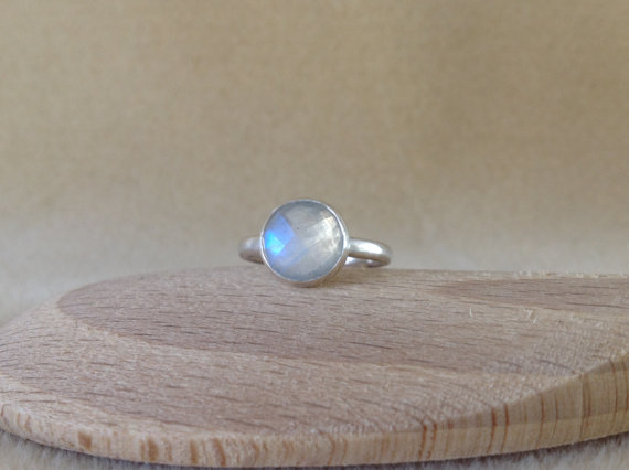 Rainbow Moonstone Sterling and Fine silver Rose cut stone ring