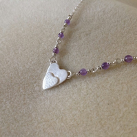 "Sterling silver double heart Amethyst pendant necklace ""The two of us"""