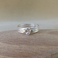 Fine silver and 9ct Gold nugget triple stacking ring set
