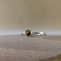 Sterling and Fine silver Golden Tiger's eye ring