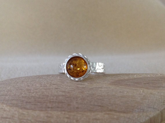 Baltic Amber Sterling and Fine silver fancy embossed ring