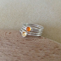 Orange Carnelian and Yellow Citrine Sterling and Fine silver stacking ring set