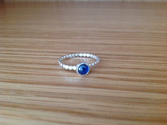 Blue Sapphire Sterling and Fine silver ball band ring