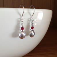 Red faceted Longido Ruby and Sterling silver pebble drop earrings