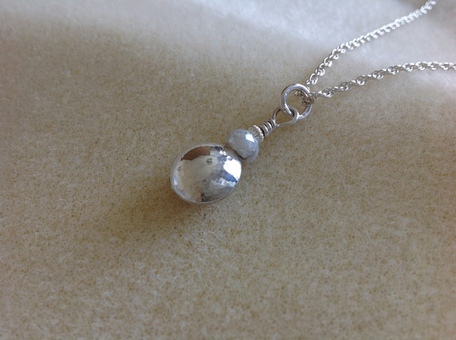 Sterling Silver pebble bead and Silverite Gemstone pendant necklace