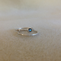 Labradorite Sterling and Fine silver dainty twin stacking ring set