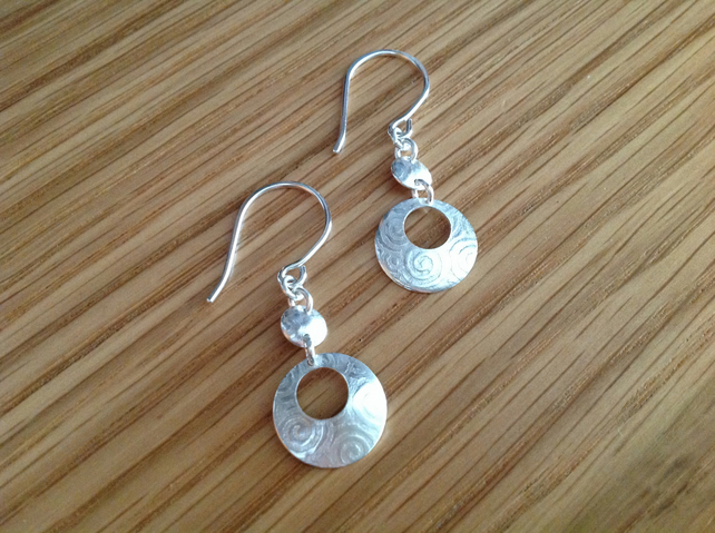Sterling silver embossed drop earrings