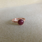 "Solid Copper and dark pink Rhodonite ring UK size ""O"" USA ""7"""