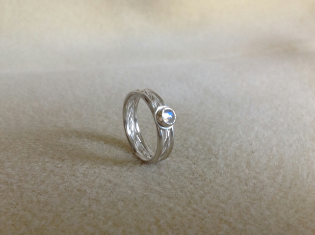 Rainbow Moonstone Sterling and Fine silver fancy twist ring
