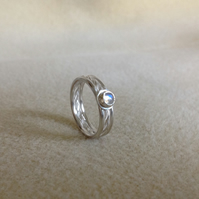 Blue Moonstone Sterling and Fine silver fancy triple band twist ring