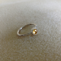 Citrine Rose cut Sterling and Fine silver ring