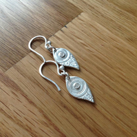 Fine silver mystical Aztec style dainty drop earrings