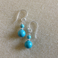 Turquoise and Sterling silver dainty drop earrings