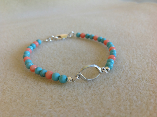 Turquoise and Coral Sterling silver dainty beaded stacking bracelet