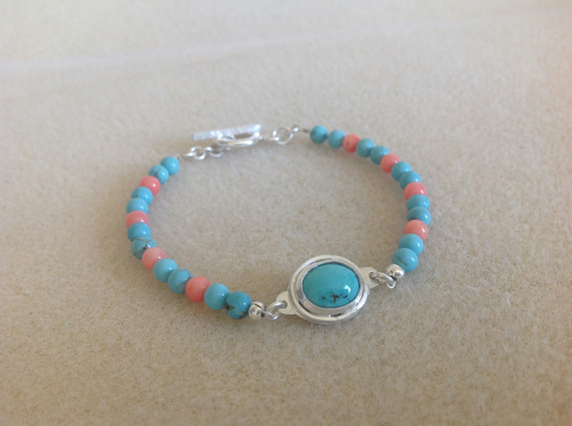 Turquoise and Coral Sterling and Fine silver hand crafted dainty bracelet