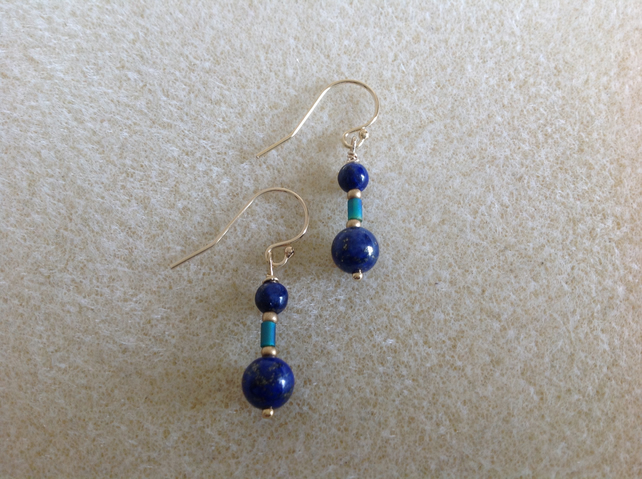 Lapis Lazuli 14k Gold filled drop earrings