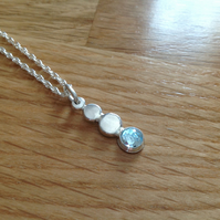 Blue Topaz Sterling and Fine silver Nuglet pendant necklace