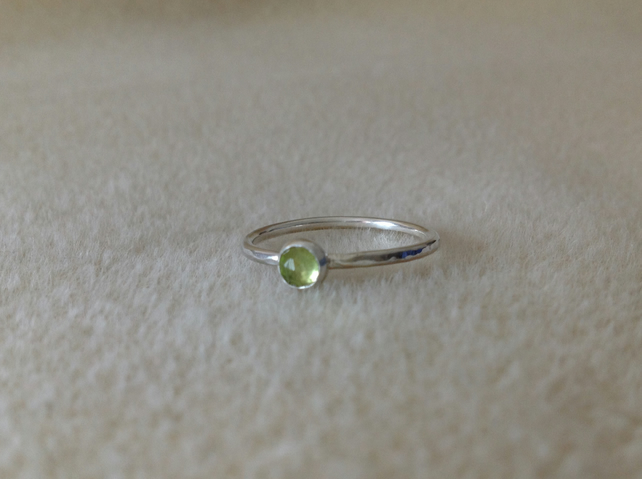Rose cut Peridot Sterling and Fine silver birthstone ring