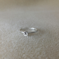All Fine silver Initial Nuglet identity dainty ring Adult or Child
