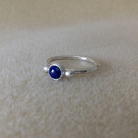 Lapis Lazuli Sterling and Fine silver dainty embellished ring