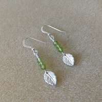 Green Peridot Gemstone Fine and Sterling silver leaf drop earrings
