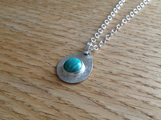 Turquoise Sterling and Fine silver textured pendant necklace