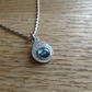 Natural Abalone shell Sterling and Fine silver pendant necklace