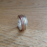 Sterling silver mixed metal Unisex Spinner Worry ring