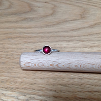 Garnet Sterling and Fine silver stacking ring (6mm stone)
