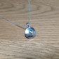 Labradorite Sterling and Fine silver domed dainty disc pendant necklace