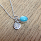 Amazonite Sterling and Fine silver dainty charm disc pendant necklace